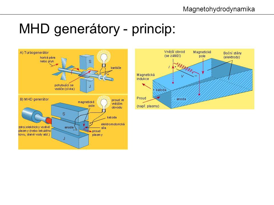 Magnetohydrodynamika Kondukční čerpadla: stejnosměrná poměrně velká účinnost velké proudy a napětí použití : jako průtokoměry střídavá velké parazitní vířivé proudy - , cos  použití : pro malá množství a malé přetlaky