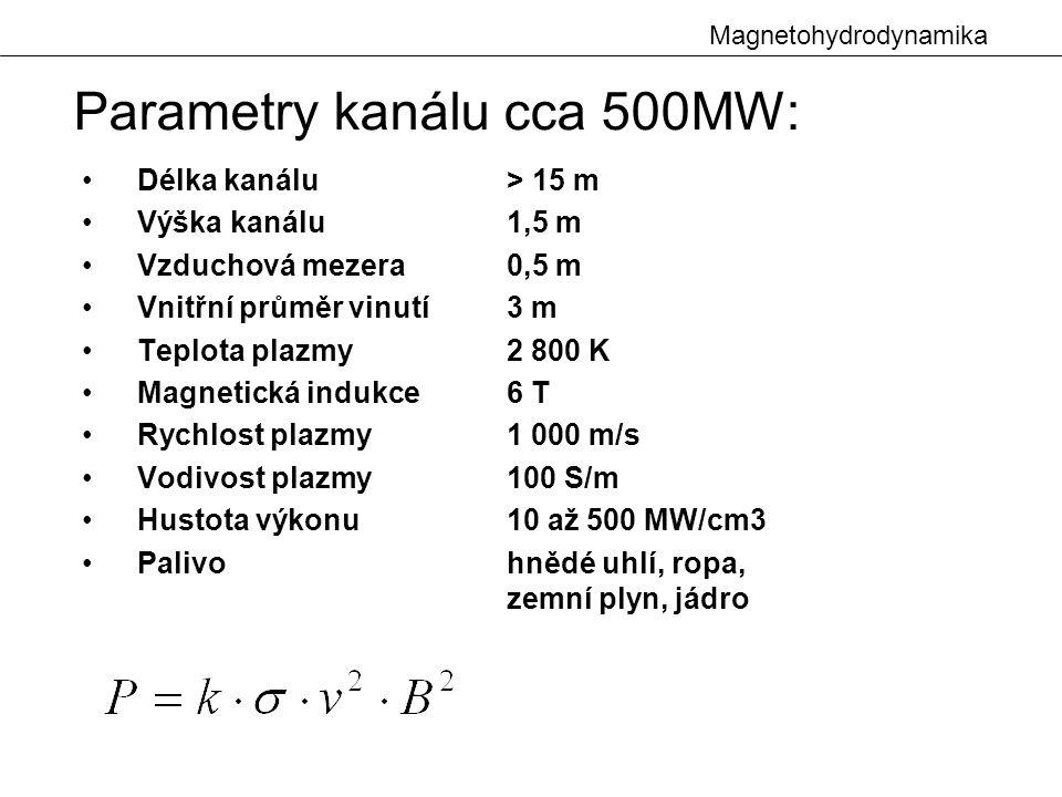 Magnetohydrodynamika Délka kanálu > 15 m Výška kanálu 1,5 m Vzduchová mezera0,5 m Vnitřní průměr vinutí3 m Teplota plazmy2 800 K Magnetická indukce6 T Rychlost plazmy1 000 m/s Vodivost plazmy100 S/m Hustota výkonu 10 až 500 MW/cm3 Palivohnědé uhlí, ropa, zemní plyn, jádro Parametry kanálu cca 500MW: