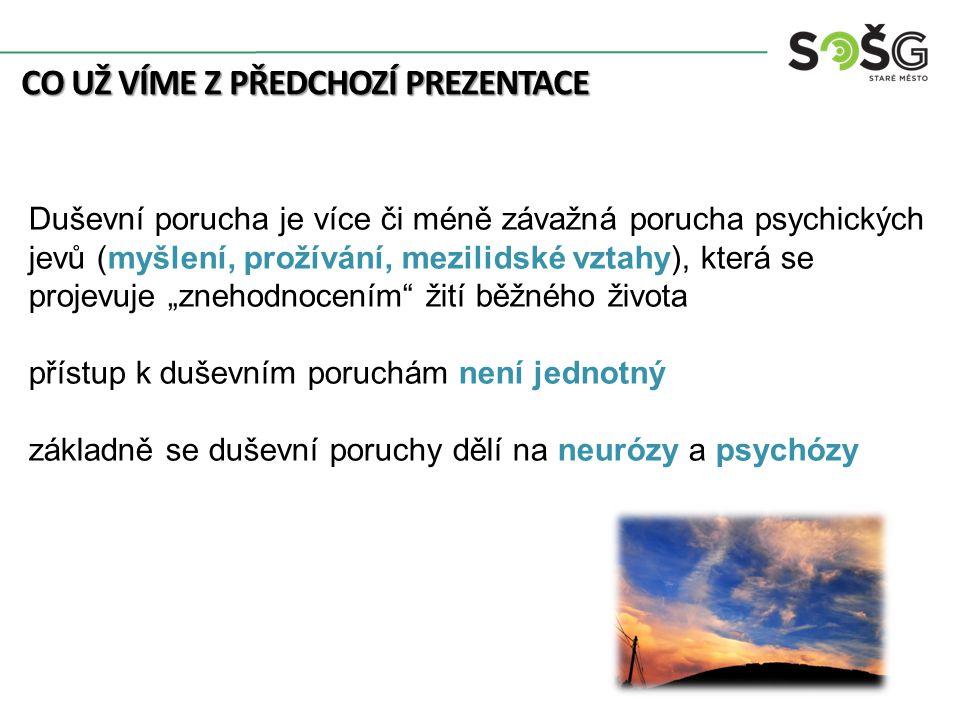 """CO UŽ VÍME Z PŘEDCHOZÍ PREZENTACE Duševní porucha je více či méně závažná porucha psychických jevů (myšlení, prožívání, mezilidské vztahy), která se projevuje """"znehodnocením žití běžného života přístup k duševním poruchám není jednotný základně se duševní poruchy dělí na neurózy a psychózy"""