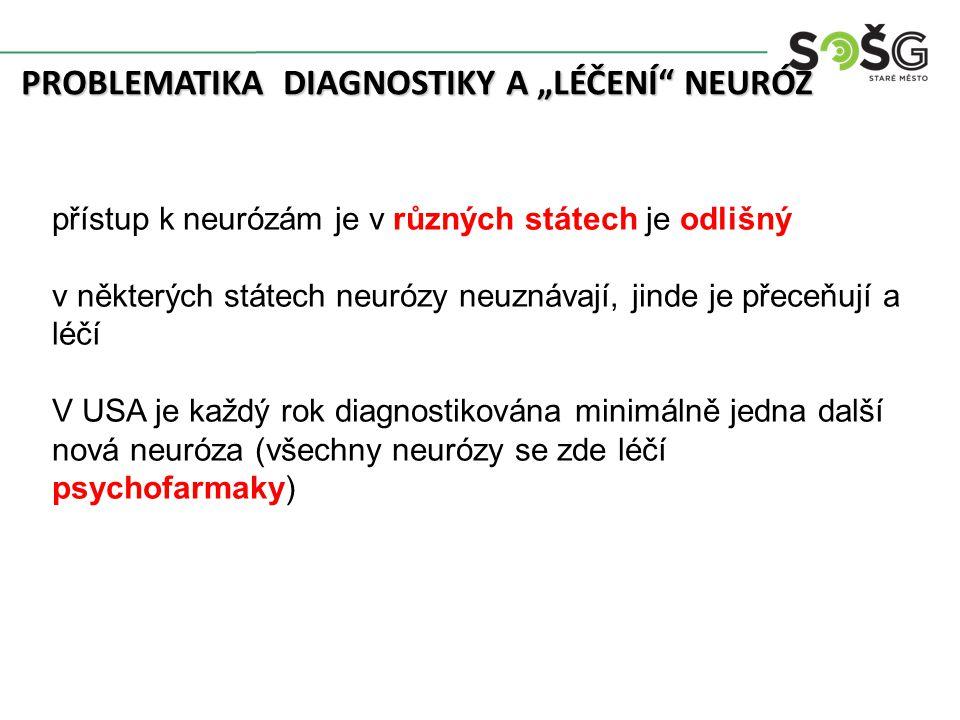"""PROBLEMATIKA DIAGNOSTIKY A """"LÉČENÍ"""" NEURÓZ přístup k neurózám je v různých státech je odlišný v některých státech neurózy neuznávají, jinde je přeceňu"""