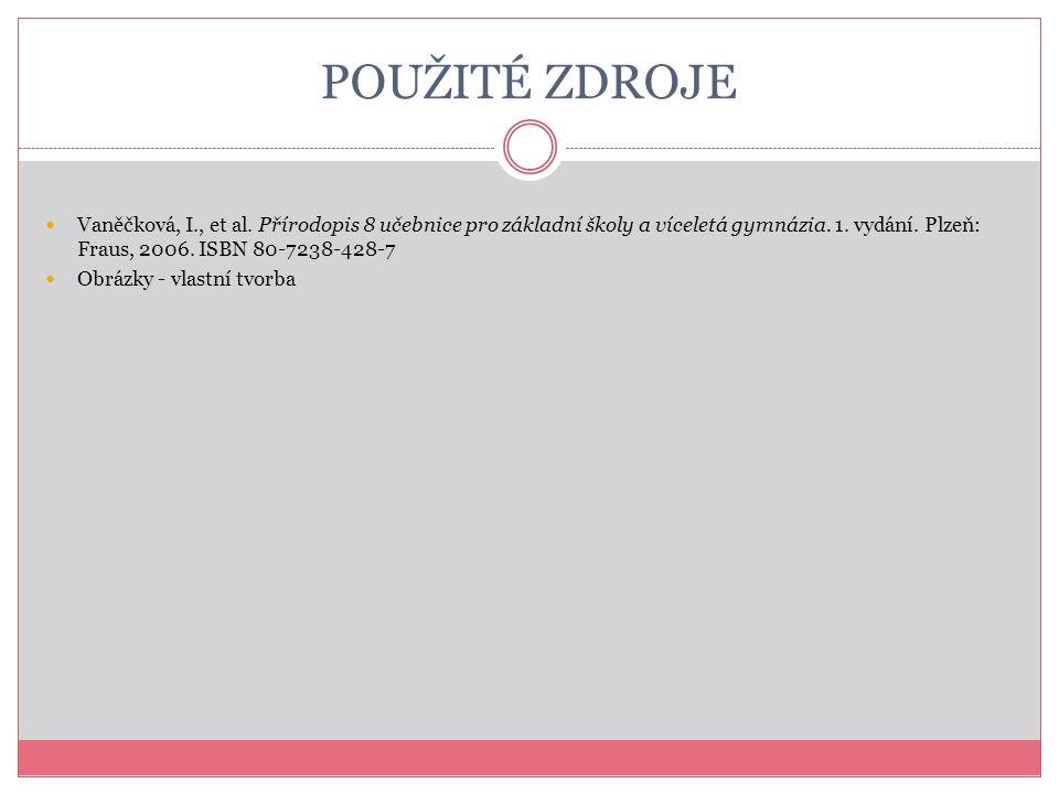 POUŽITÉ ZDROJE Vaněčková, I., et al. Přírodopis 8 učebnice pro základní školy a víceletá gymnázia. 1. vydání. Plzeň: Fraus, 2006. ISBN 80-7238-428-7 O