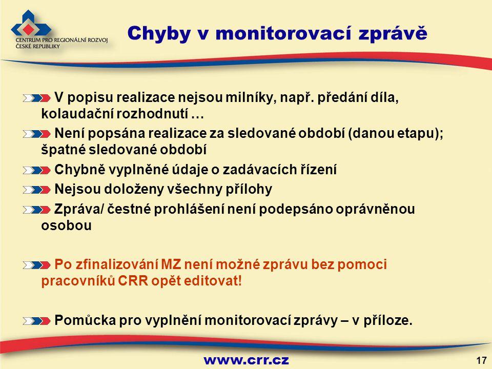 www.crr.cz 17 Chyby v monitorovací zprávě V popisu realizace nejsou milníky, např.