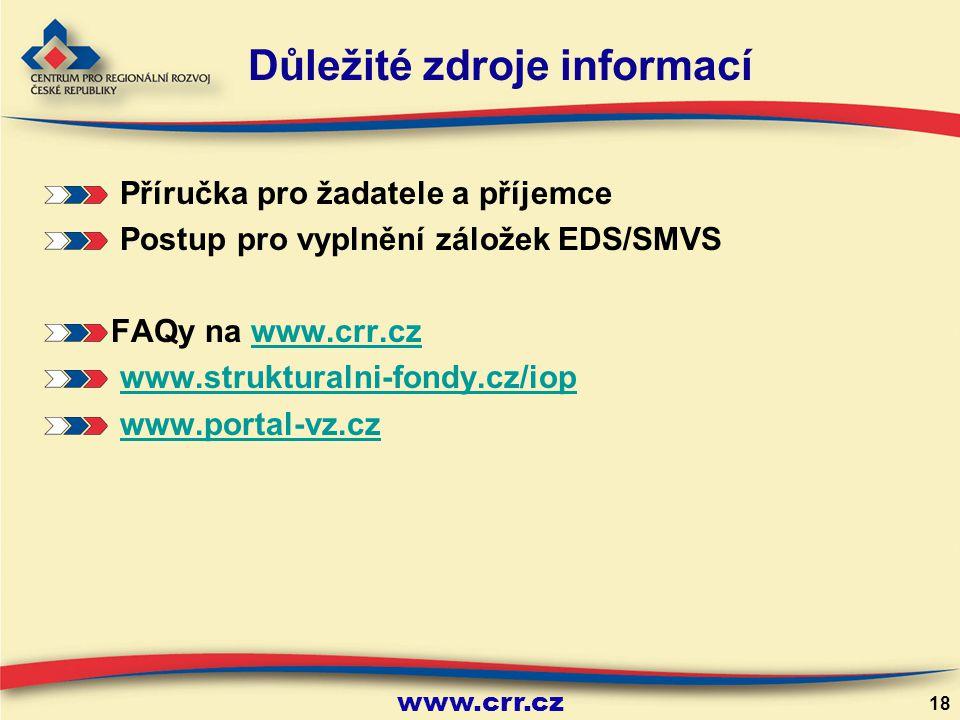 www.crr.cz 18 Důležité zdroje informací Příručka pro žadatele a příjemce Postup pro vyplnění záložek EDS/SMVS FAQy na www.crr.czwww.crr.cz www.strukturalni-fondy.cz/iop www.portal-vz.cz