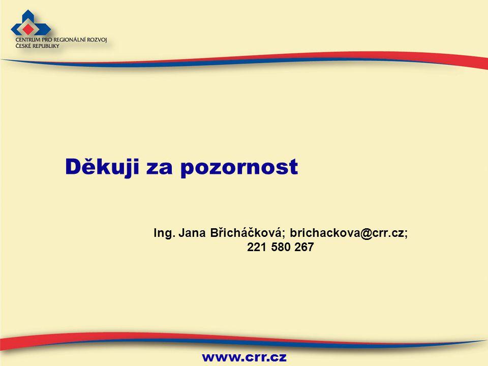 www.crr.cz Děkuji za pozornost Ing. Jana Břicháčková; brichackova@crr.cz; 221 580 267