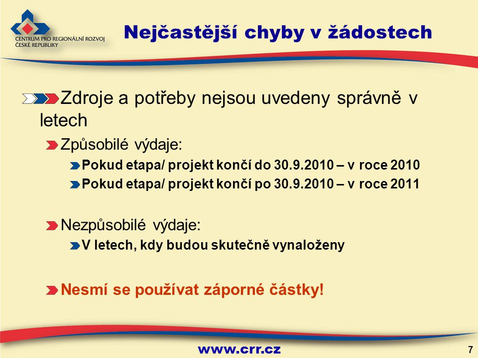 www.crr.cz 7 Zdroje a potřeby nejsou uvedeny správně v letech Způsobilé výdaje: Pokud etapa/ projekt končí do 30.9.2010 – v roce 2010 Pokud etapa/ projekt končí po 30.9.2010 – v roce 2011 Nezpůsobilé výdaje: V letech, kdy budou skutečně vynaloženy Nesmí se používat záporné částky.