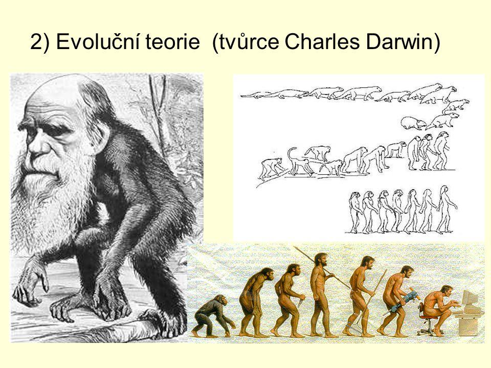 2) Evoluční teorie (tvůrce Charles Darwin)