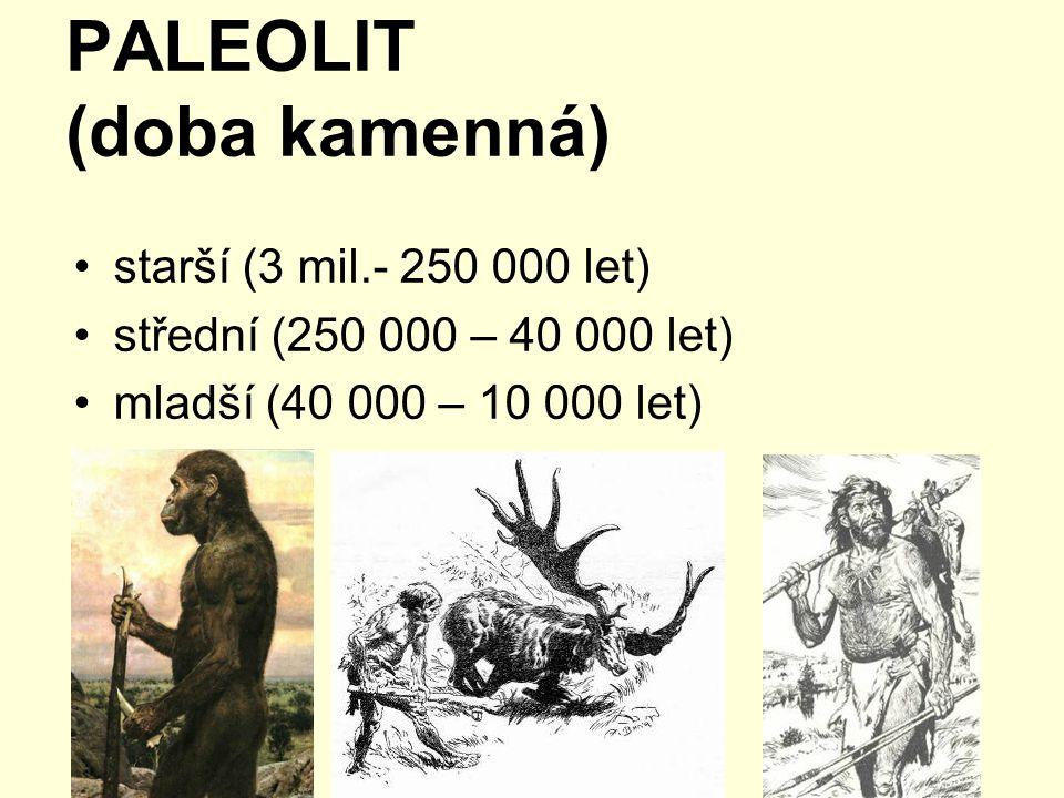 PALEOLIT (doba kamenná) starší (3 mil.- 250 000 let) střední (250 000 – 40 000 let) mladší (40 000 – 10 000 let)