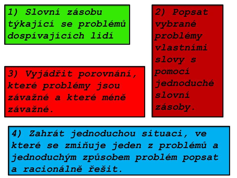 1) Slovní zásobu týkající se problémů dospívajících lidí 2) Popsat vybrané problémy vlastními slovy s pomocí jednoduché slovní zásoby.