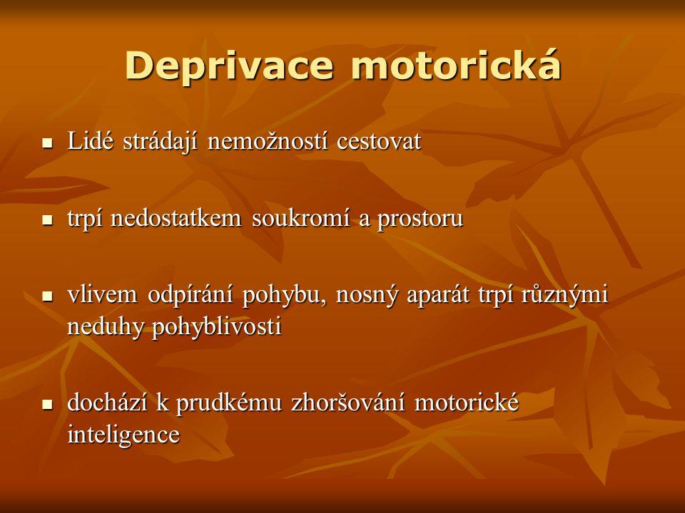 Deprivace motorická Lidé strádají nemožností cestovat Lidé strádají nemožností cestovat trpí nedostatkem soukromí a prostoru trpí nedostatkem soukromí a prostoru vlivem odpírání pohybu, nosný aparát trpí různými neduhy pohyblivosti vlivem odpírání pohybu, nosný aparát trpí různými neduhy pohyblivosti dochází k prudkému zhoršování motorické inteligence dochází k prudkému zhoršování motorické inteligence