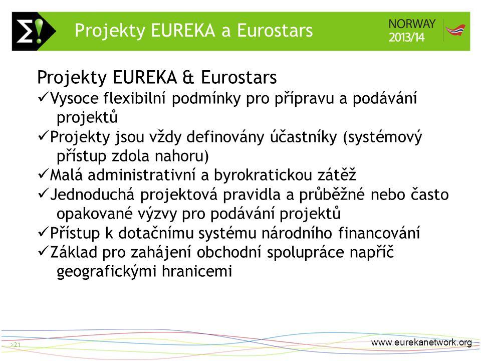 > 21 www.eurekanetwork.org >21 Projekty EUREKA & Eurostars Vysoce flexibilní podmínky pro přípravu a podávání projektů Projekty jsou vždy definovány účastníky (systémový přístup zdola nahoru) Malá administrativní a byrokratickou zátěž Jednoduchá projektová pravidla a průběžné nebo často opakované výzvy pro podávání projektů Přístup k dotačnímu systému národního financování Základ pro zahájení obchodní spolupráce napříč geografickými hranicemi Projekty EUREKA a Eurostars
