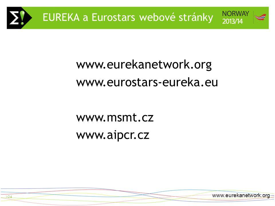 > 24 www.eurekanetwork.org >24 www.eurekanetwork.org www.eurostars-eureka.eu www.msmt.cz www.aipcr.cz EUREKA a Eurostars webové stránky