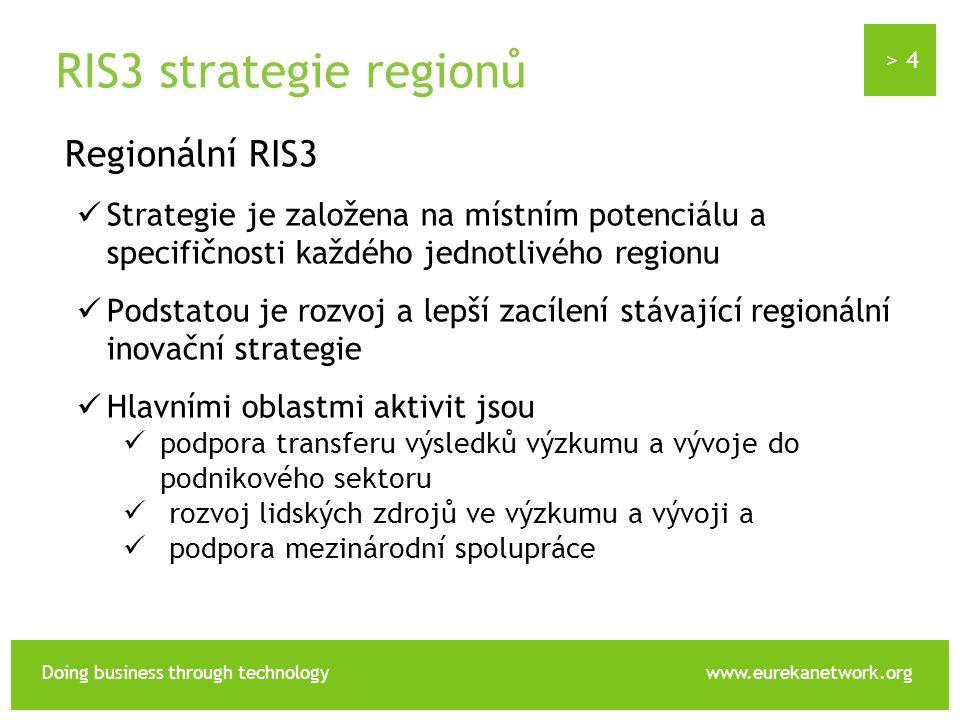 > 4 Doing business through technologywww.eurekanetwork.org RIS3 strategie regionů Regionální RIS3 Strategie je založena na místním potenciálu a specifičnosti každého jednotlivého regionu Podstatou je rozvoj a lepší zacílení stávající regionální inovační strategie Hlavními oblastmi aktivit jsou podpora transferu výsledků výzkumu a vývoje do podnikového sektoru rozvoj lidských zdrojů ve výzkumu a vývoji a podpora mezinárodní spolupráce