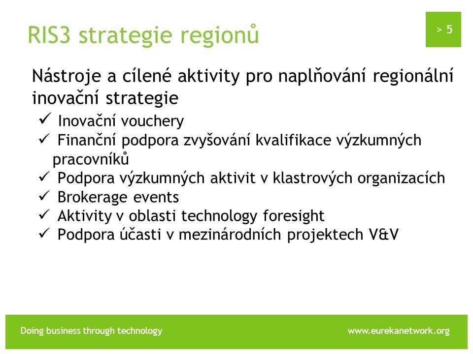 > 5 Doing business through technologywww.eurekanetwork.org RIS3 strategie regionů Nástroje a cílené aktivity pro naplňování regionální inovační strategie Inovační vouchery Finanční podpora zvyšování kvalifikace výzkumných pracovníků Podpora výzkumných aktivit v klastrových organizacích Brokerage events Aktivity v oblasti technology foresight Podpora účasti v mezinárodních projektech V&V