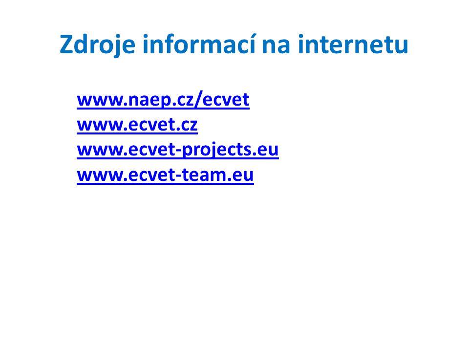 Zdroje informací na internetu www.naep.cz/ecvet www.ecvet.cz www.ecvet-projects.eu www.ecvet-team.eu