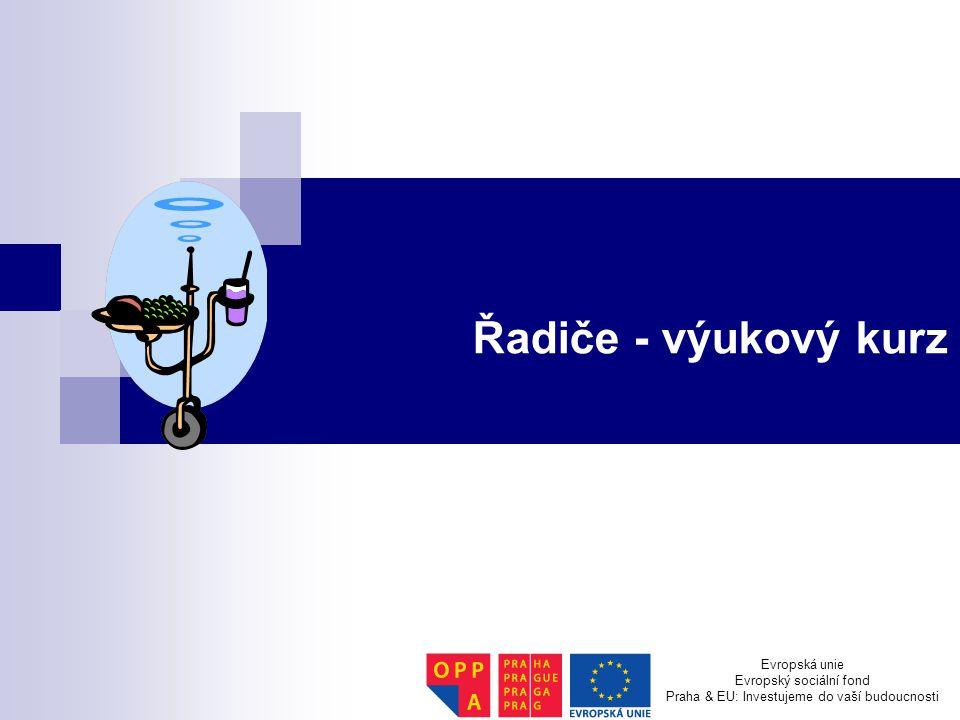 Řadiče - výukový kurz Evropská unie Evropský sociální fond Praha & EU: Investujeme do vaší budoucnosti