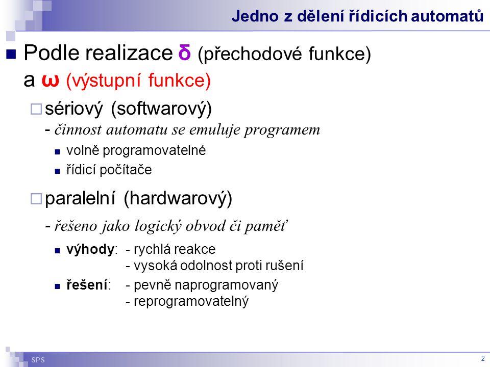 SPS 2 Jedno z dělení řídicích automatů Podle realizace δ (přechodové funkce) a ω (výstupní funkce)  sériový (softwarový) - činnost automatu se emuluj