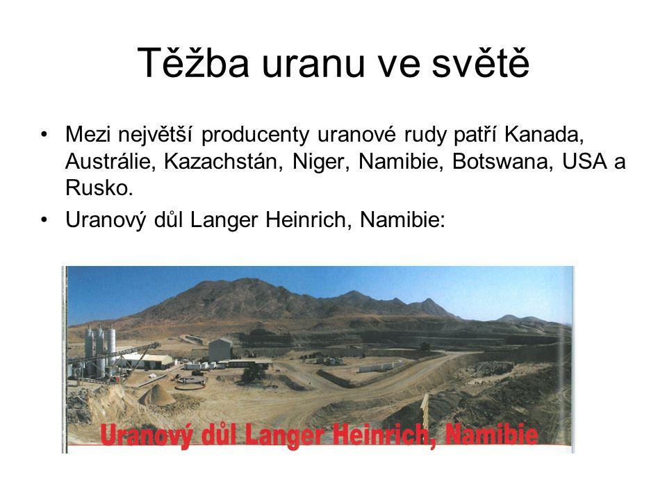 Rudy uranu: Nejdůležitější uranovou rudou je uraninit, lidově smolinec, chemicky oxid uraničitý s příměsí thoria a radia a obsahem uranu až 82% Další rudy: Autunit, torbernit, andersonit, metaautunit