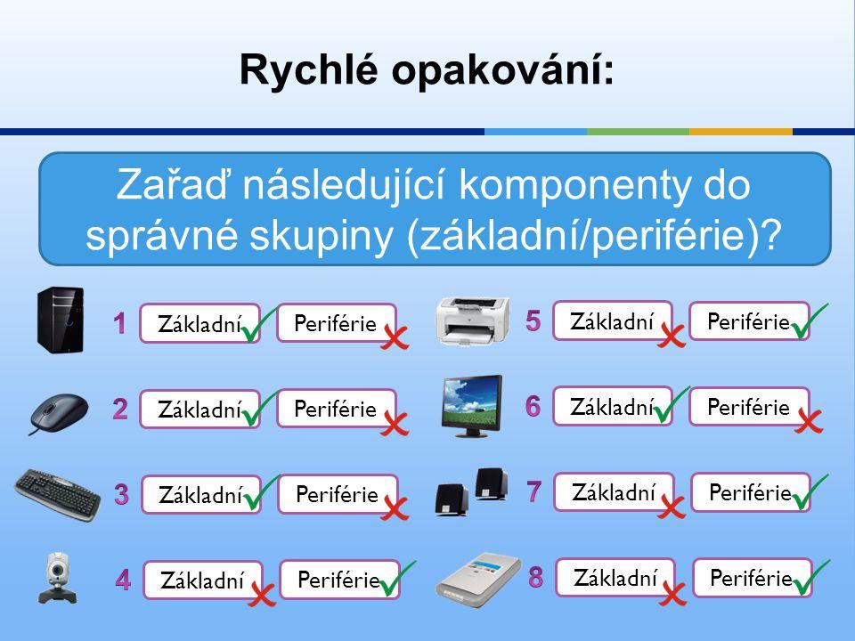 Rychlé opakování: Zařaď následující komponenty do správné skupiny (základní/periférie)? Základní Periférie Základní Periférie Základní Periférie Zákla
