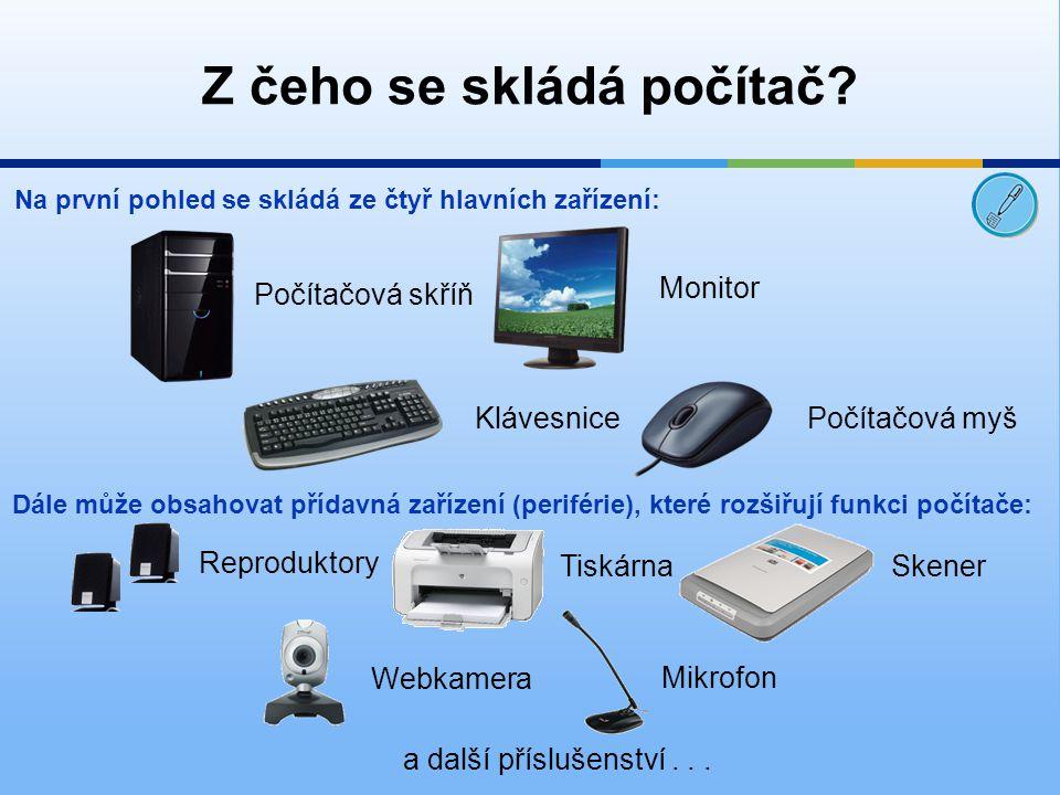 Z čeho se skládá počítač? Na první pohled se skládá ze čtyř hlavních zařízení: Počítačová skříň Monitor KlávesnicePočítačová myš Dále může obsahovat p