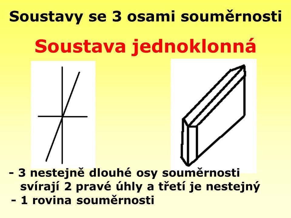 Soustavy se 3 osami souměrnosti - 1 rovina souměrnosti Soustava jednoklonná - 3 nestejně dlouhé osy souměrnosti svírají 2 pravé úhly a třetí je nestej