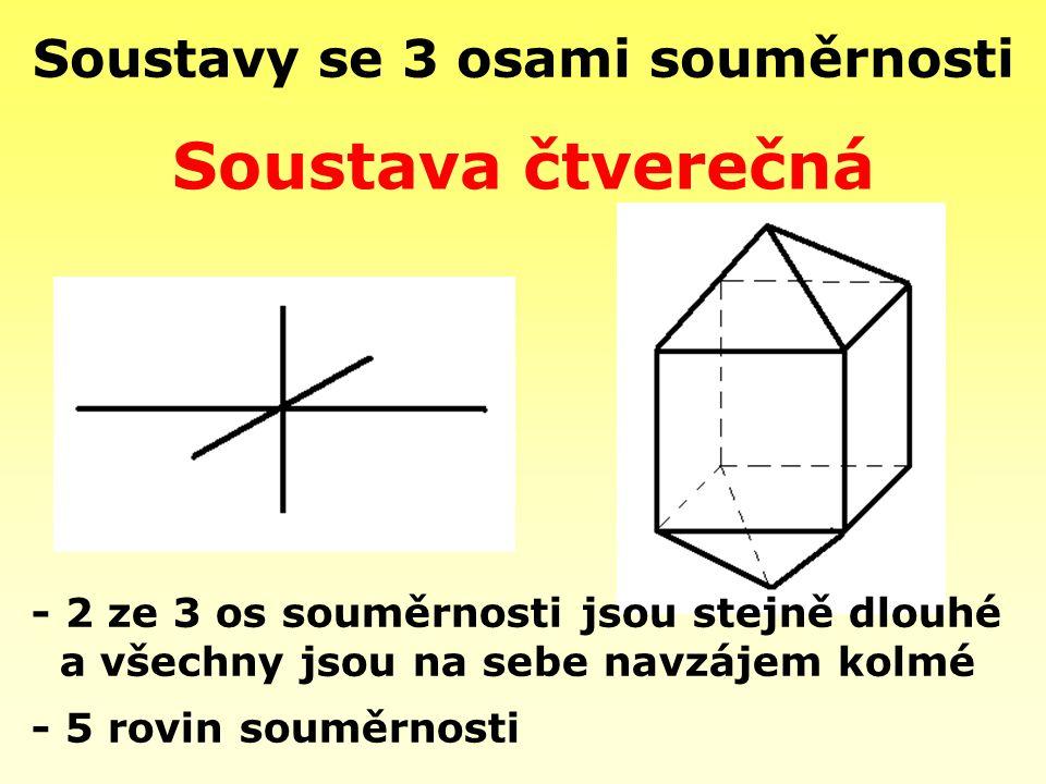 Soustavy se 3 osami souměrnosti - 5 rovin souměrnosti Soustava čtverečná - 2 ze 3 os souměrnosti jsou stejně dlouhé a všechny jsou na sebe navzájem ko
