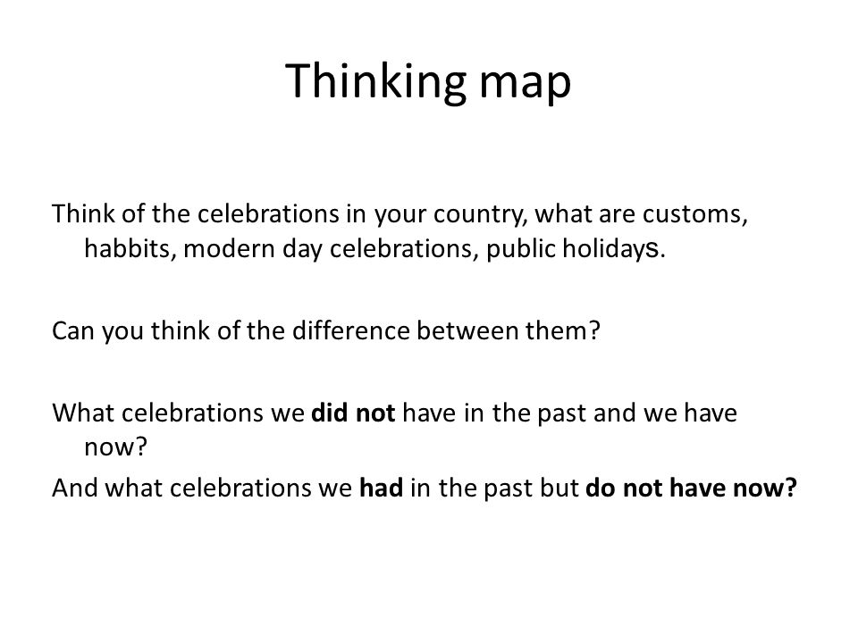 Thinking map Think of the celebrations in your country, what are customs, habbits, modern day celebrations, public holiday s.