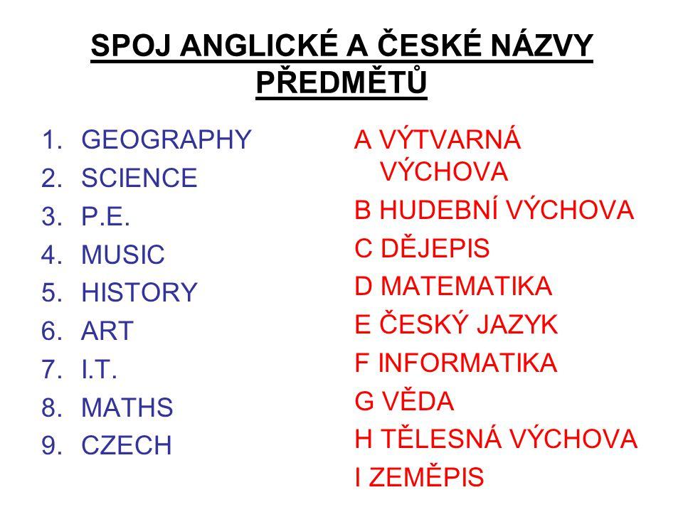 SPOJ ANGLICKÉ A ČESKÉ NÁZVY PŘEDMĚTŮ 1.GEOGRAPHY 2.SCIENCE 3.P.E.