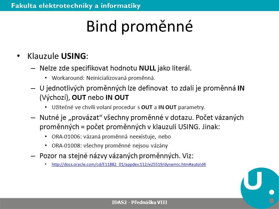 DBMS_SQL - DEFINE_COLUMN IDAS2 - Přednáška VIII