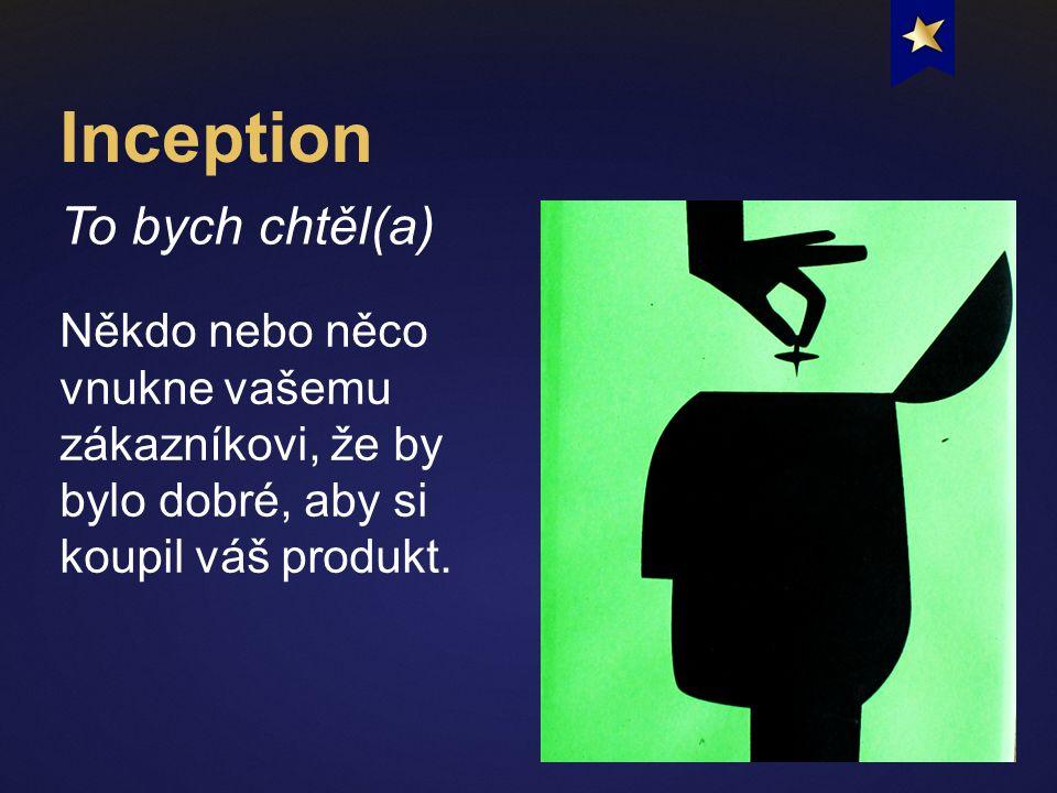 Inception To bych chtěl(a) Někdo nebo něco vnukne vašemu zákazníkovi, že by bylo dobré, aby si koupil váš produkt.
