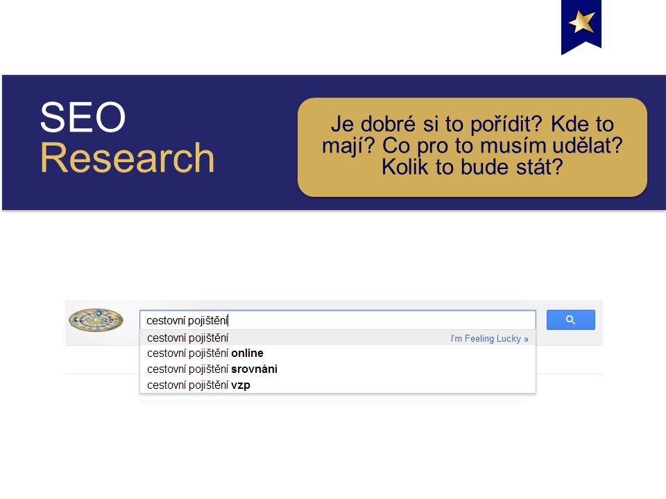 SEO Research Je dobré si to pořídit Kde to mají Co pro to musím udělat Kolik to bude stát