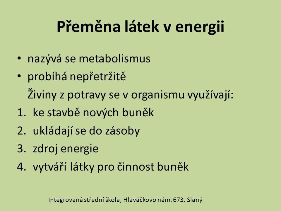Přeměna látek v energii nazývá se metabolismus probíhá nepřetržitě Živiny z potravy se v organismu využívají: 1.ke stavbě nových buněk 2.ukládají se do zásoby 3.zdroj energie 4.vytváří látky pro činnost buněk Integrovaná střední škola, Hlaváčkovo nám.