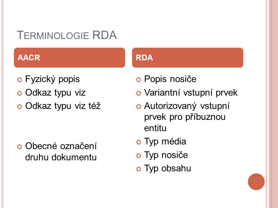 T ERMINOLOGIE RDA Fyzický popis Odkaz typu viz Odkaz typu viz též Obecné označení druhu dokumentu Popis nosiče Variantní vstupní prvek Autorizovaný vstupní prvek pro příbuznou entitu Typ média Typ nosiče Typ obsahu AACRRDA