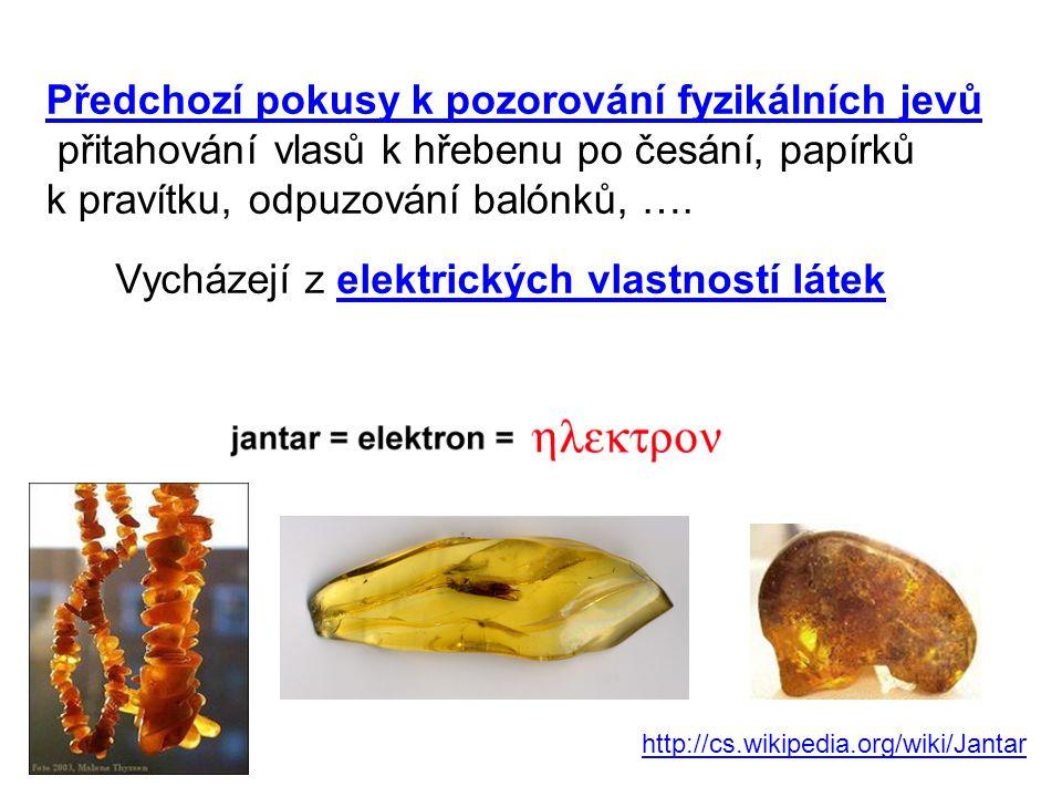 http://cs.wikipedia.org/wiki/Jantar Předchozí pokusy k pozorování fyzikálních jevů přitahování vlasů k hřebenu po česání, papírků k pravítku, odpuzová