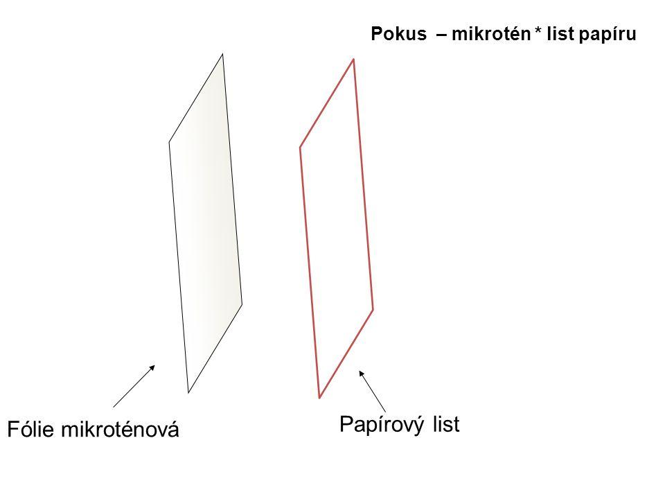 Fólie mikroténová Papírový list Pokus – mikrotén * list papíru