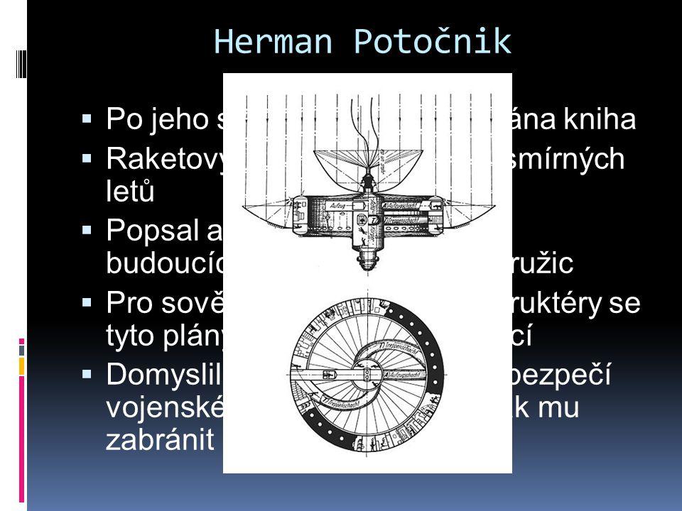 Herman Potočnik  Po jeho smrti v roce 1929 vydána kniha  Raketový motor – problém vesmírných letů  Popsal a nakreslil do ní plány budoucích geostac