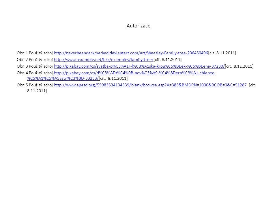Autorizace Obr. 1 Použitý zdroj http://neverbeendarkmarked.deviantart.com/art/Weasley-Family-tree-206450496[cit. 8.11.2011]http://neverbeendarkmarked.