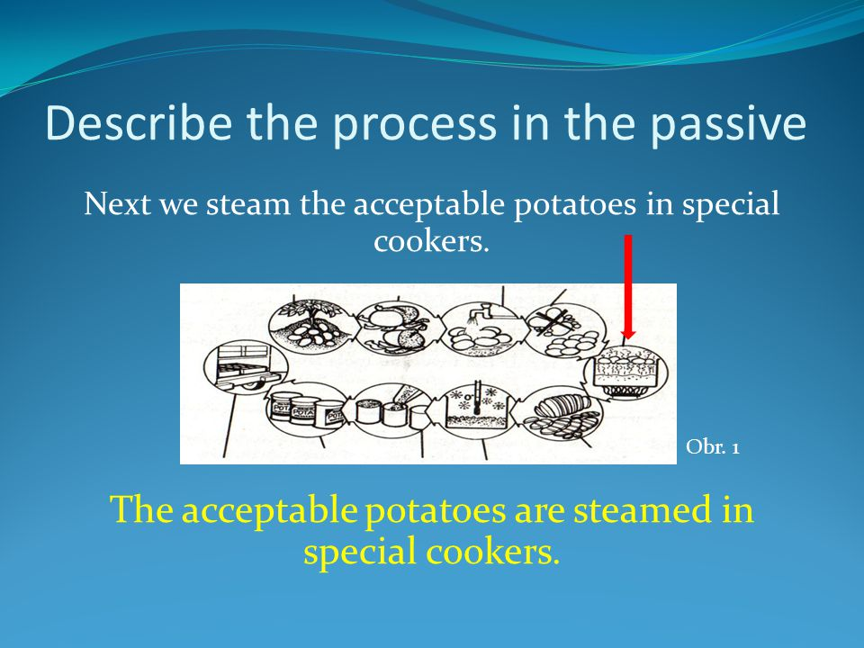 Describe the process in the passive Next we steam the acceptable potatoes in special cookers.