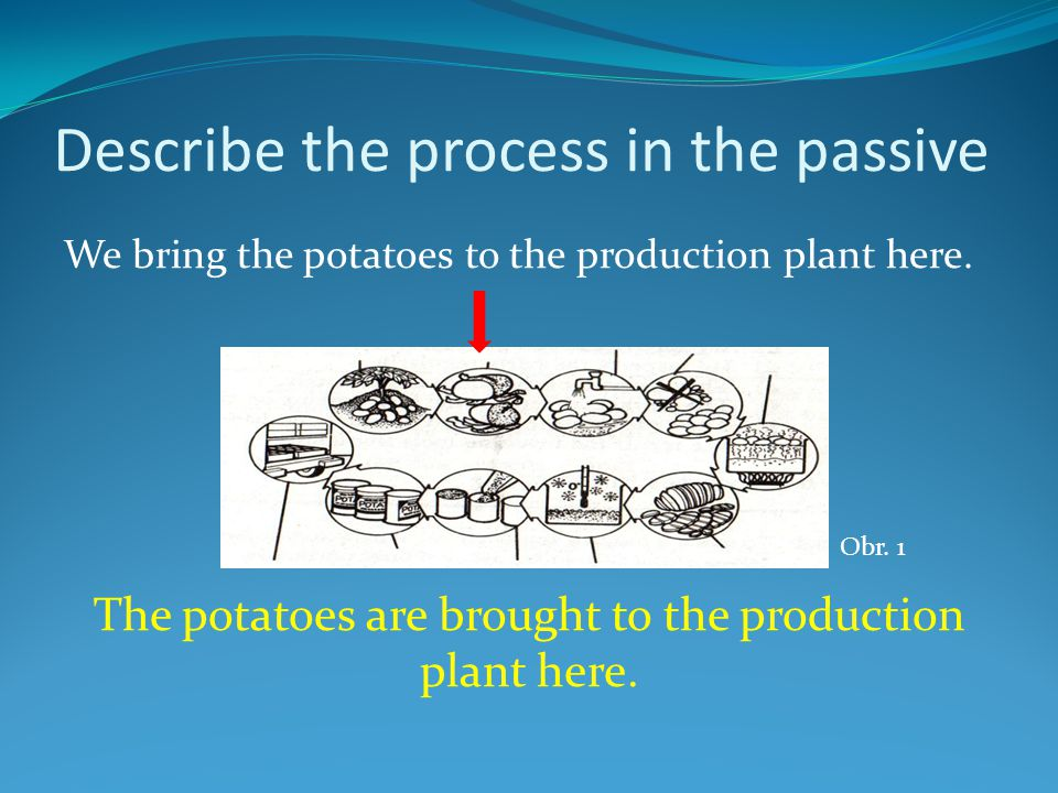 Describe the process in the passive We bring the potatoes to the production plant here.