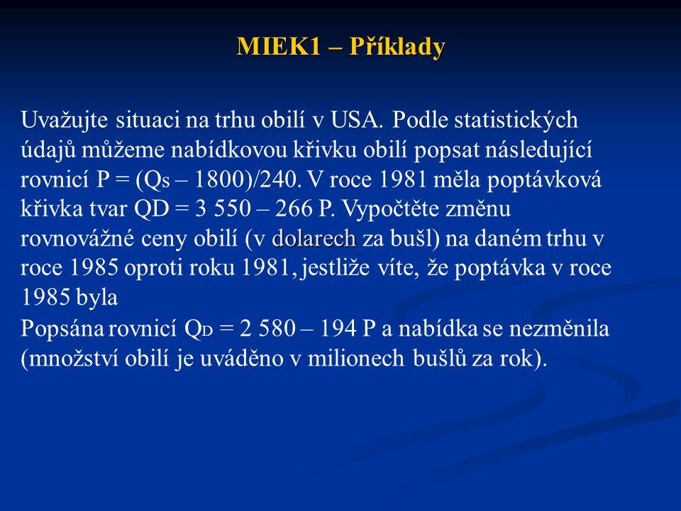 MIEK1 – Příklady dolarech Uvažujte situaci na trhu obilí v USA. Podle statistických údajů můžeme nabídkovou křivku obilí popsat následující rovnicí P