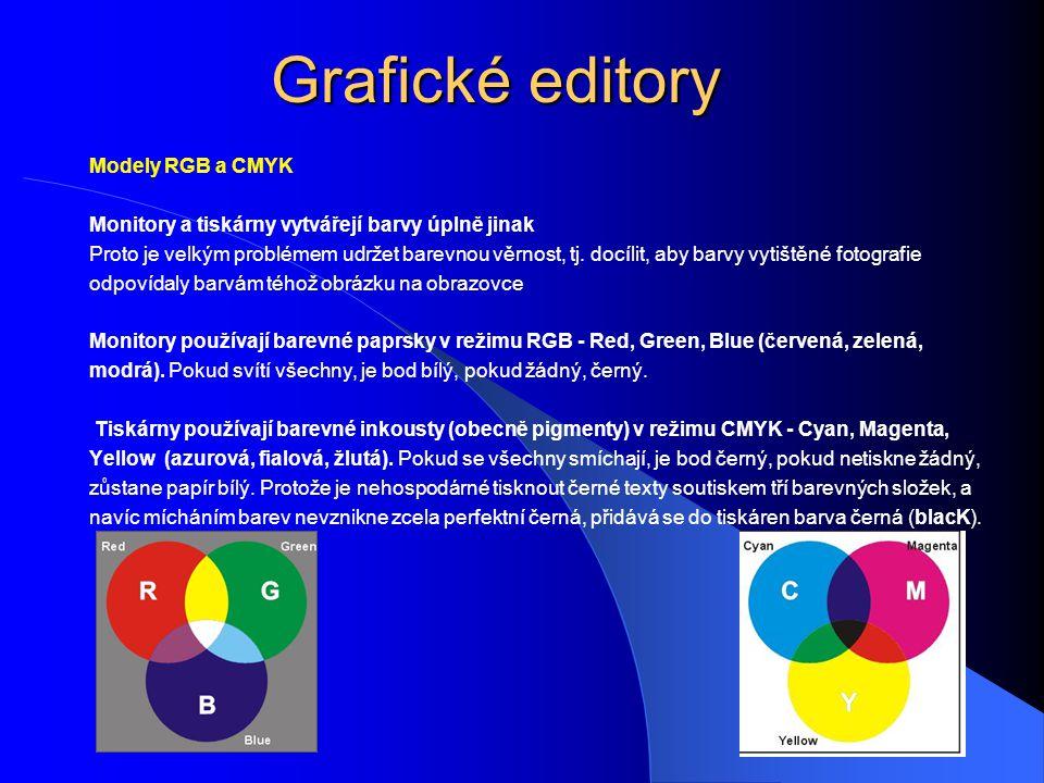 Grafické editory Modely RGB a CMYK Monitory a tiskárny vytvářejí barvy úplně jinak Proto je velkým problémem udržet barevnou věrnost, tj. docílit, aby