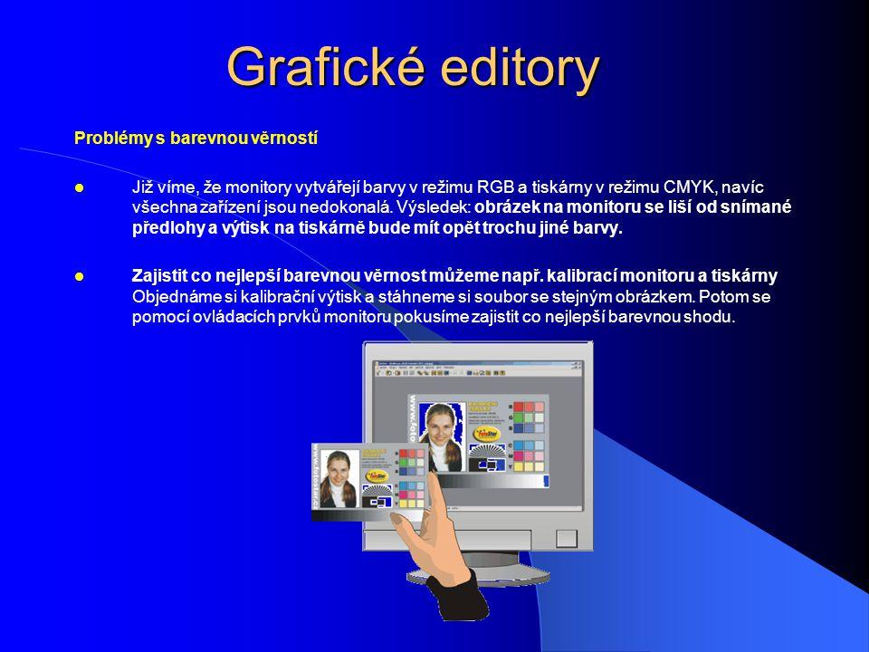 Grafické editory Problémy s barevnou věrností Již víme, že monitory vytvářejí barvy v režimu RGB a tiskárny v režimu CMYK, navíc všechna zařízení jsou