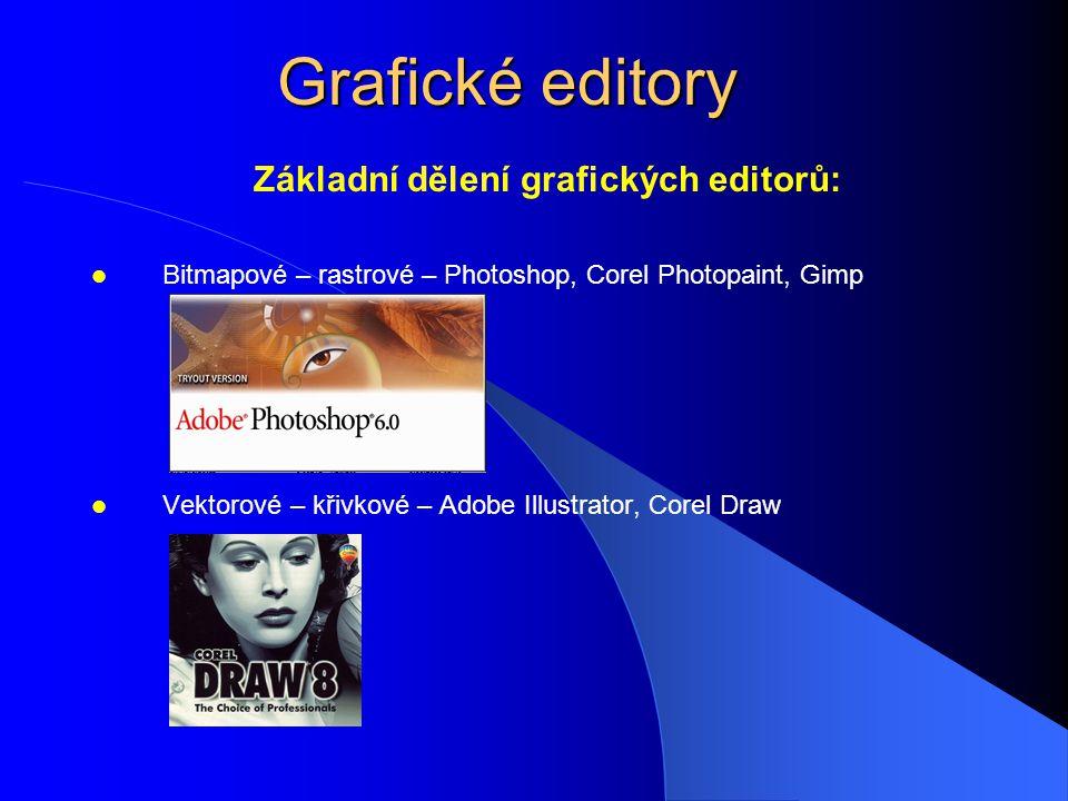 Grafické editory Základní dělení grafických editorů: Bitmapové – rastrové – Photoshop, Corel Photopaint, Gimp Vektorové – křivkové – Adobe Illustrator