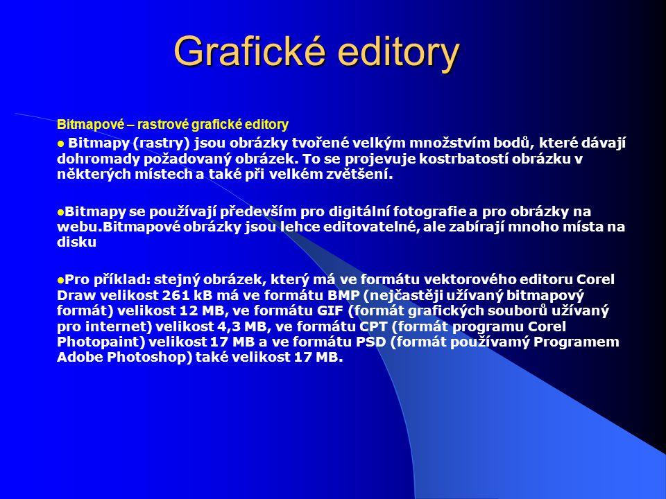 Grafické editory Bitmapové – rastrové grafické editory Bitmapy (rastry) jsou obrázky tvořené velkým množstvím bodů, které dávají dohromady požadovaný