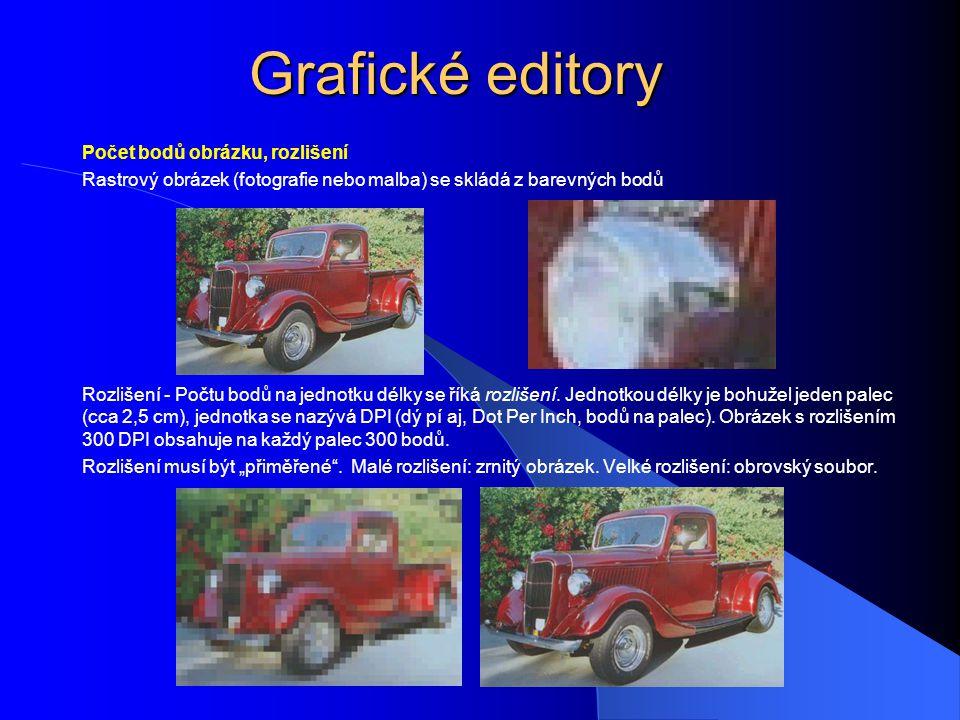Grafické editory Počet bodů obrázku, rozlišení Rastrový obrázek (fotografie nebo malba) se skládá z barevných bodů Rozlišení - Počtu bodů na jednotku