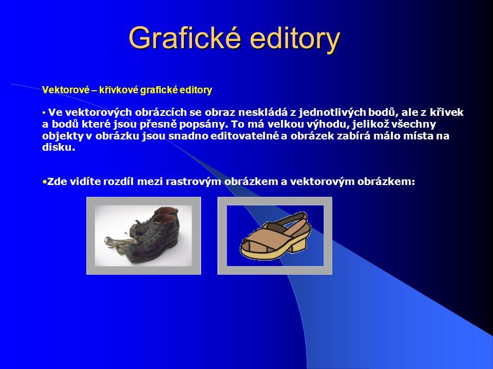 Grafické editory Vektorové – křivkové grafické editory Ve vektorových obrázcích se obraz neskládá z jednotlivých bodů, ale z křivek a bodů které jsou