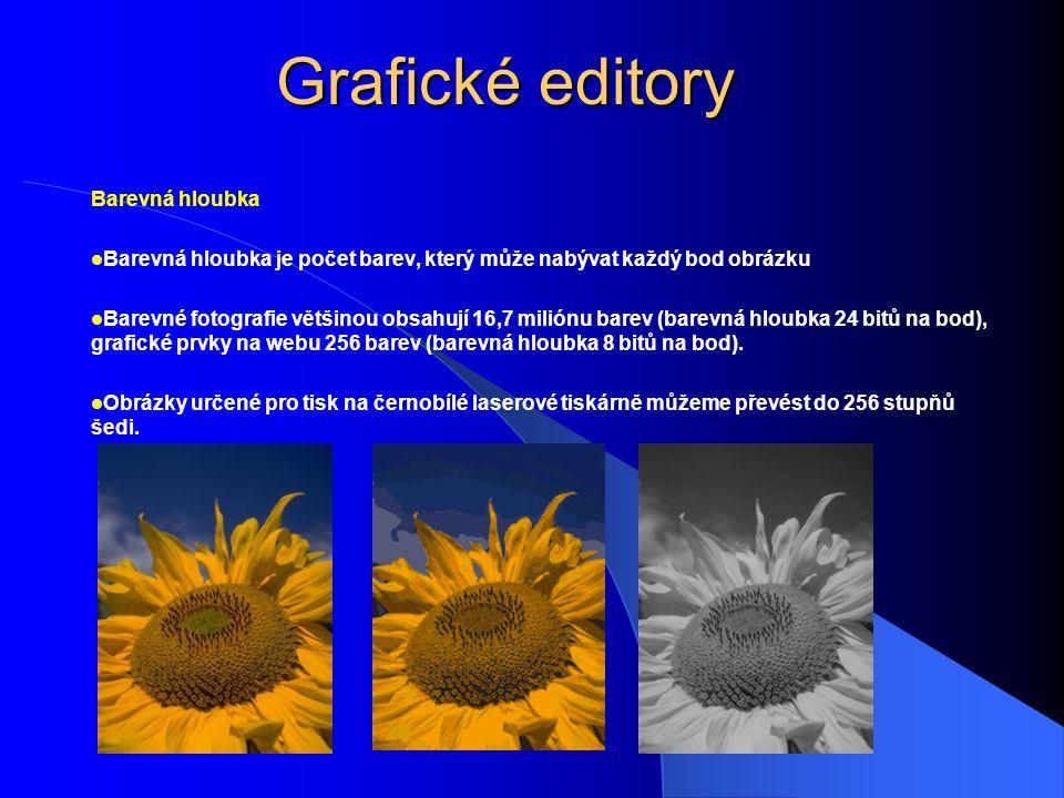 Grafické editory Barevná hloubka Barevná hloubka je počet barev, který může nabývat každý bod obrázku Barevné fotografie většinou obsahují 16,7 milión