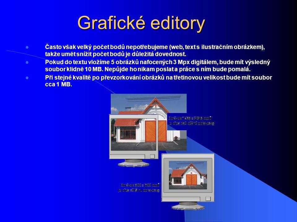 Grafické editory Často však velký počet bodů nepotřebujeme (web, text s ilustračním obrázkem), takže umět snížit počet bodů je důležitá dovednost. Pok