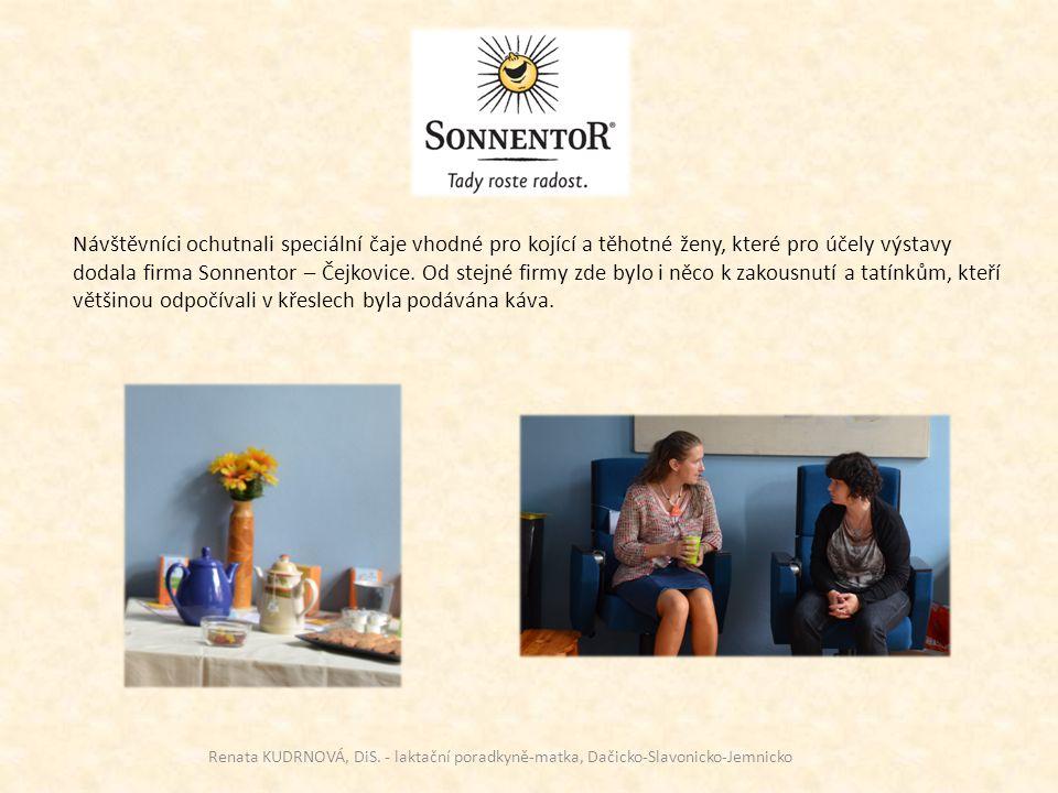 Návštěvníci ochutnali speciální čaje vhodné pro kojící a těhotné ženy, které pro účely výstavy dodala firma Sonnentor – Čejkovice. Od stejné firmy zde