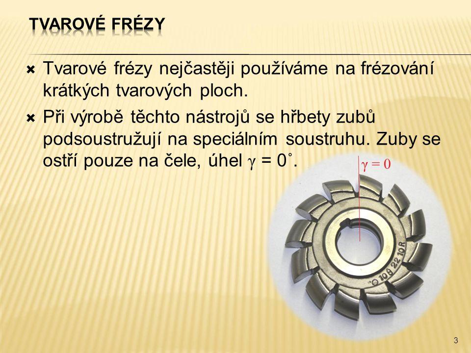  Tvarové frézy nejčastěji používáme na frézování krátkých tvarových ploch.  Při výrobě těchto nástrojů se hřbety zubů podsoustružují na speciálním s