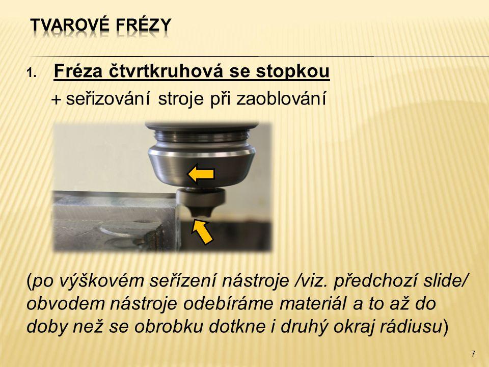 1. Fréza čtvrtkruhová se stopkou  seřizování stroje při zaoblování (po výškovém seřízení nástroje /viz. předchozí slide/ obvodem nástroje odebíráme m